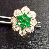 Распродажа Новый Anillos Qi Xuan_Fashion Jewelry_Colombia зеленый камень цветок Rings_Rose золотистого цвета женский Rings_Factory прямые продажи