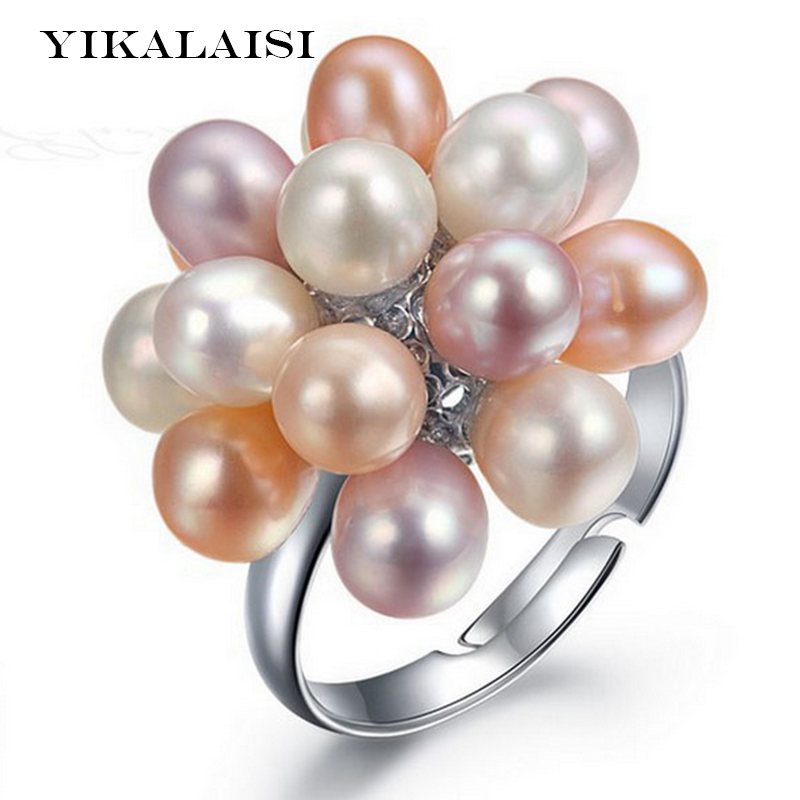 YIKALAISI 2017 Hot Fashion Real Pearl Jewelry Water Drop Natural Freshwater Pearl Flower Wedding pearl Ring For Women Gift
