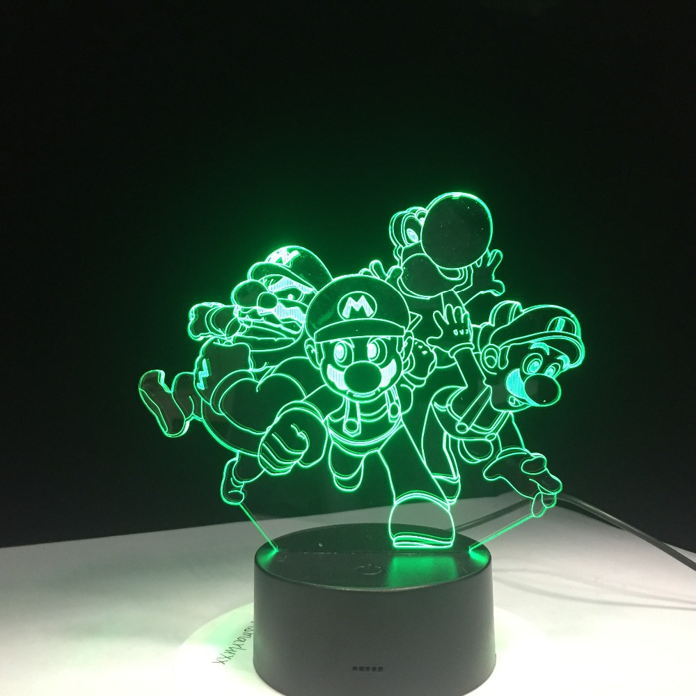 Super Mario Bros Luigi Toad Dragon 3D Desk Table Light Lamp USB Acrylic Super Gift For Children Baby Sleep Lamp Nursery Light