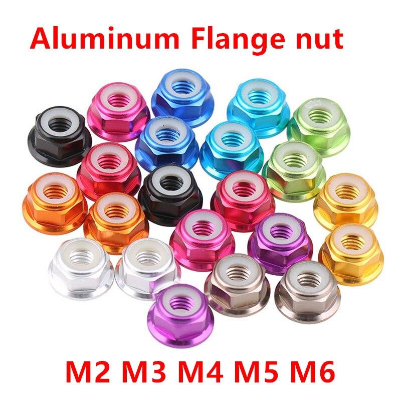 10 Stücke M2 M3 M4 M5 M6 Aluminium Flansch Muttern Nylon Einsatz Niet Lock Mutter Selbst Locking Muttern Eloxiert 11 Farbe Erfrischung