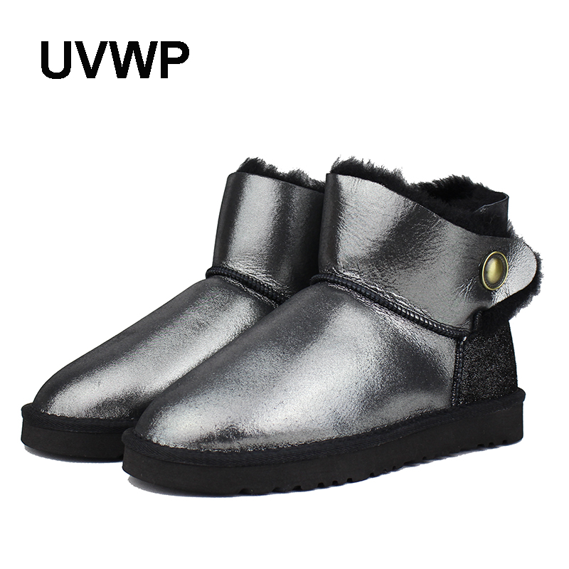 UVWP Hot Sale Top Quality Women Snow Boots Warm Winter Boots Genuine Sheepskin Leather 100% Natural Fur Women Ankle Boots  цена