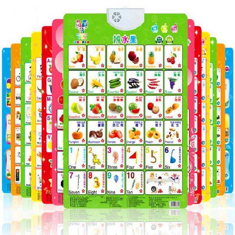 Language Learning English -Chinese Bilingual Baby Education Learning Machine Toy Alphabet Music Phonic Wall Hanging Chart NEW