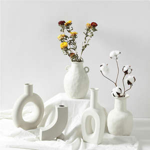 Vases Craft Flower-Pot Ceramic-Vase Home-Ornaments Nordic Creative White Vegetarian Ins