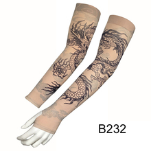 2pcs/lot Fake Tattoo Arm Sleeves for Men Women Dragon Design UV Protection Cooler Cycling Outdoor Driving Arm Sleeves Elastic