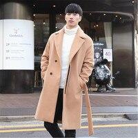 2017 גשם צמר חדש סתיו אדם עבה ארוכות מעילי זכר האופנה Loose מוצרי הלבשה תחתונה חמות מעיל צמר בצבע האחיד לגברים A4087