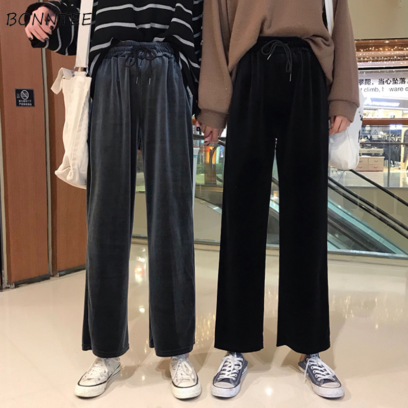 Pants   Women Spring Autumn 2019 Korean Loose   Wide     Leg     Pant   Womens Comfortable High Quality Female Casual Simple Long Trendy Chic