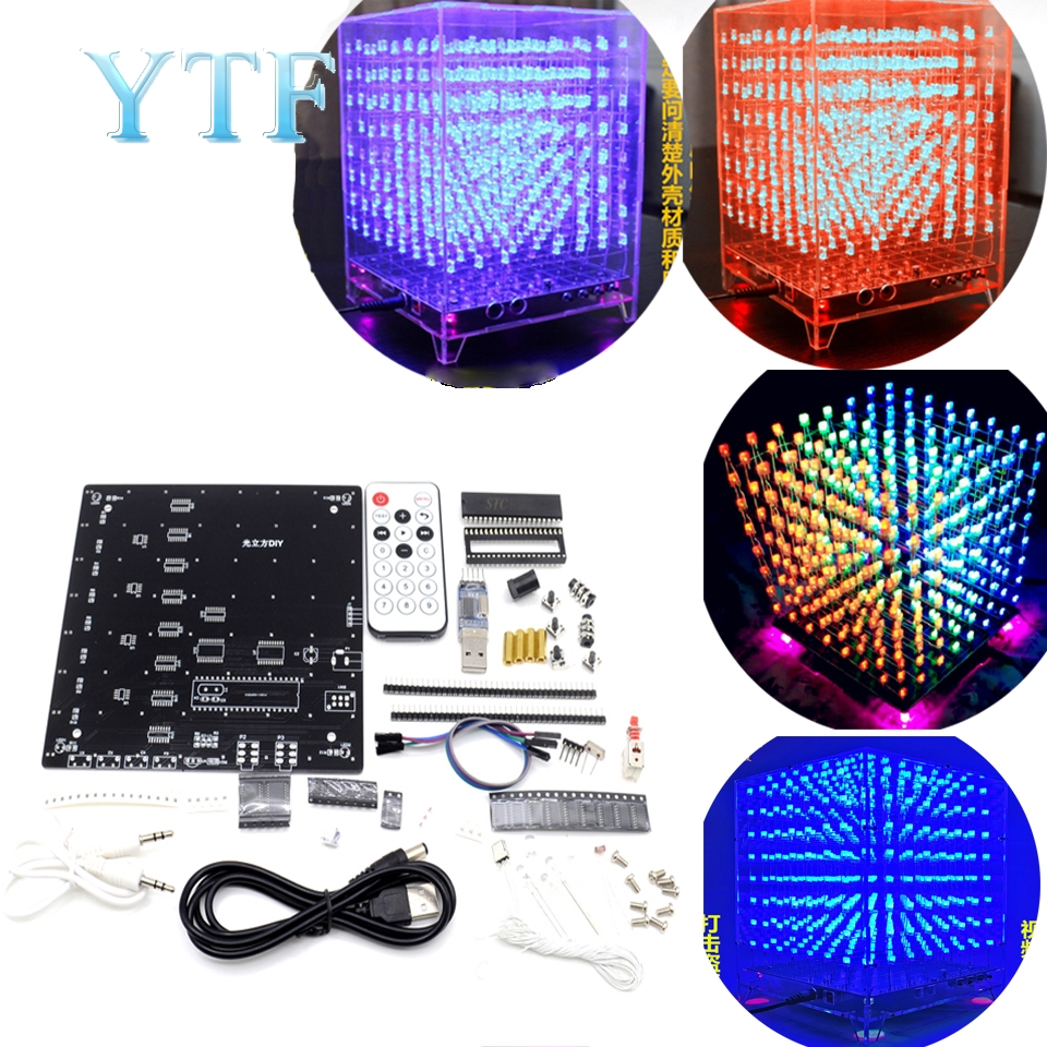 8x8x8 3D LED LightSquared DIY Kit White LED Blue Or Green Or Red Ray 5mm LED Cube Electronic Suite 5V Power Supply