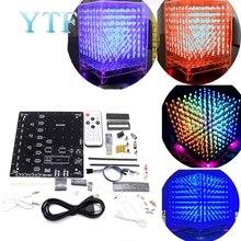 8x8x8 3D LED LightSquared DIY ערכת לבן LED כחול או ירוק או אדום Ray 5mm LED קוביית לחתן 5V אספקת חשמל