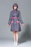 Sexy Lady Floral Knee length Long Raincoat Woman Hubasqueros Mujer Dress Rain Coat for Women Rain Suit Hooded Womens 3DYY011