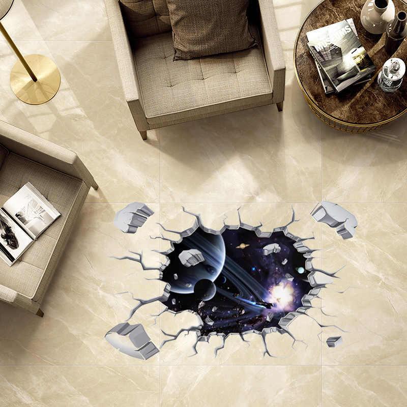 Creative 3D Brick Wall Universe Space Galaxy Wall Sticker Home Decor Bedroom Ceiling Roof Art Mural Waterproof Floor Wall Decals