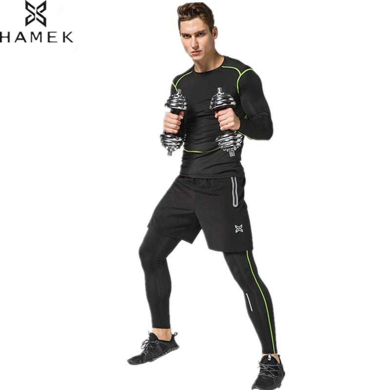 HAMEK 2017 Men Sports Suit 3pcs Quick Dry Reflective Running Set Compression Tights Underwear Basketball Fitness Training Suit 2018 running sets men sports suit breathable basketball sport compression underwear quick dry fit gym training suit 5 pieces set