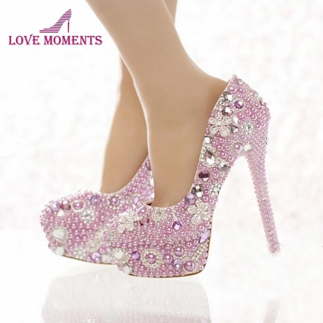 Beautiful Lavender Purple Pearl Bridal Shoes Special Event Party High Heels  Women Prom Dress Shoes Gorgeous Rhinestone Pumps 542244aa7ea6