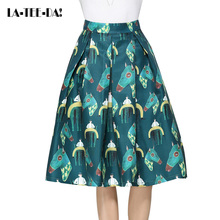 LaTeeDai 10 2017 Print Skirts Women Multi-Colorful Pattern Retro Lady Fashion Vintage A-Line Big Hem Pleated Midi Jupe Vestidos