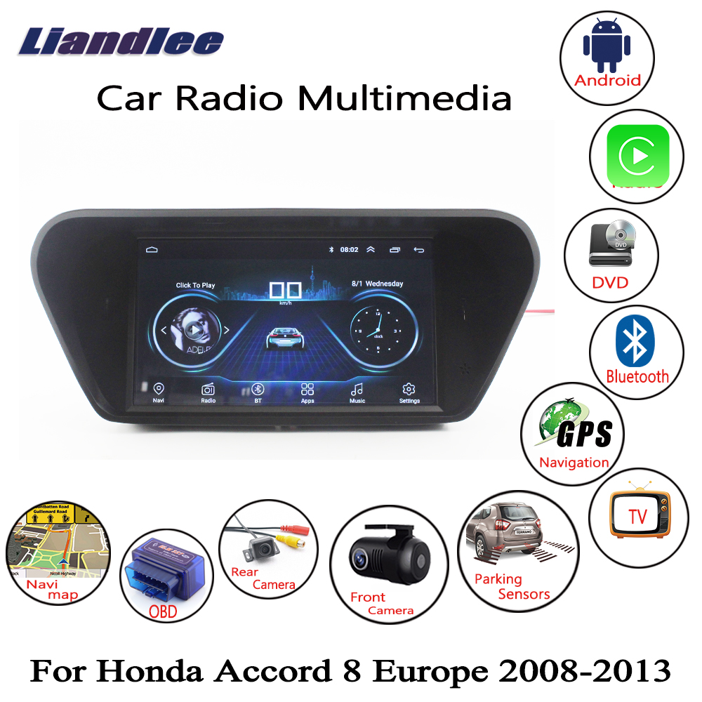 Liandlee Pour Honda Pour Accord 8 Europe 2008 ~ 2013 De Voiture Android Radio Lecteur GPS Navi Navigation Cartes Caméra OBD HD écran aucun DVD