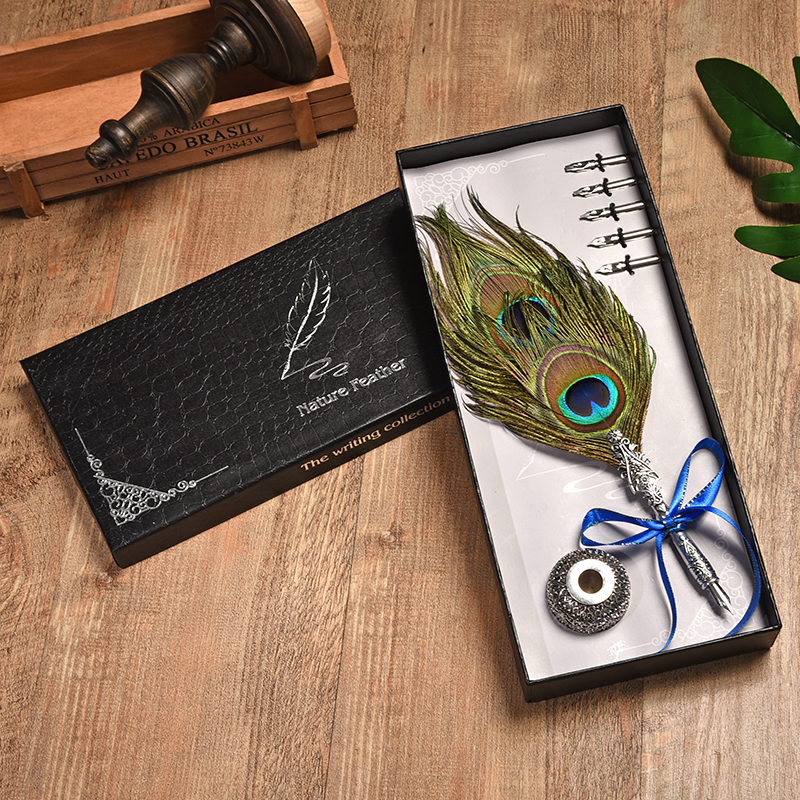 New Writing Tools Creative Retro Feather Pen Round Pen Set Teacher's Day Gift Metal Pen +5 Nib And Pen Holder Office Supplies bnb europe and the united states creative craft feather pen ink set feather pen gift box new metal pen can be customized