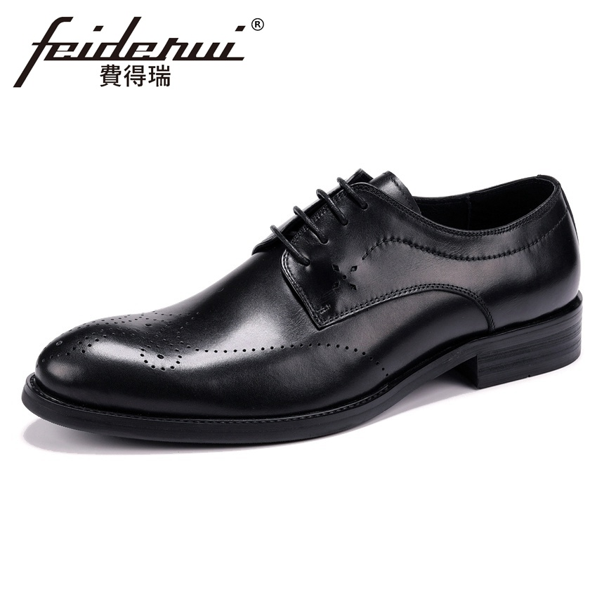 Summer Breathable Handmade Men's Derby Formal Dress Footwear Genuine Leather Round Toe Lace-up Man Medallion Brogue Shoes YMX567 elanrom summer men formal derby wedding dress shoes cow genuine leather lace up round toe latex height increasing 30mm massage