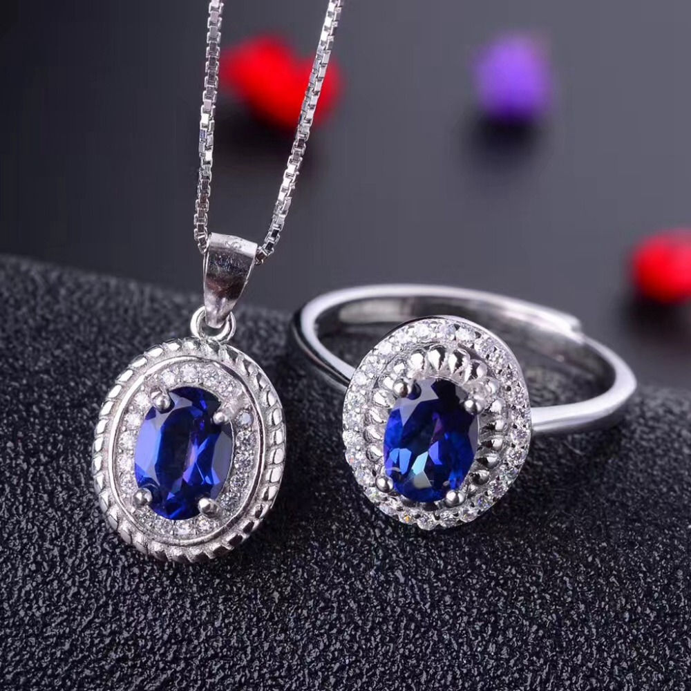 MeiBaPJ Noble and Elegant Blue Treasure 925 Pure Silver Tanzania Topaz Suit Necklace and Rings Fine Jewelry Set