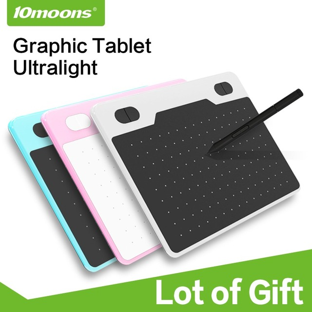 10moons 6 Inch Ultralight Graphic Tablet 8192 Levels Digital Drawing Tablet Battery-Free Pen Compatible Android Device With Gift
