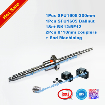 Hot Sale # 1 antibacklash ball screw 1605 -L300mm-C7+ BK/BF12 + 2pcs 8mm*10mm couplings + end machining