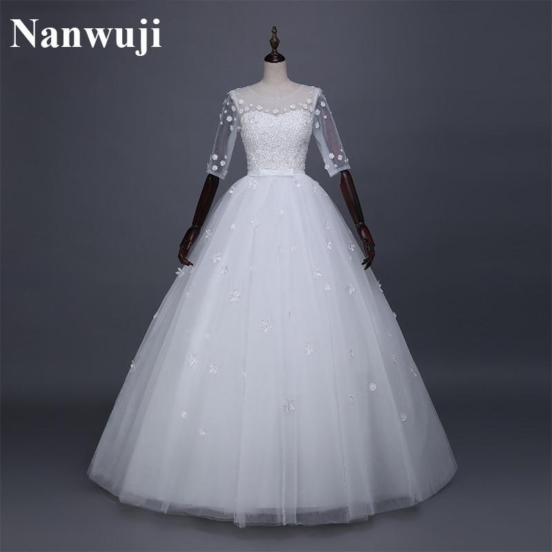 2016 real photos half sleeve in stock cheap wedding dress for Cheap wedding dress with sleeves