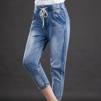 Direto Da Fábrica de Verão Plus Size calças de Brim 5XL Mulher Com Cordão Elástico Fino Sete Pontos Calças Feminino Coreano Haren Pés jeans #1067