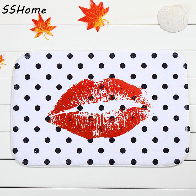 Coral Velvet Bathroom Carpet Mats Anti-slip Rug Shower 40x60cm Spots Lips Bath Kitchen Doormat for Hallway Home Decoration