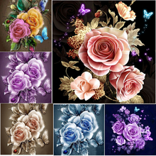 100% Full 5D Diy Daimond Painting Blooming Roses 3D Diamond Square Rhinestones Diamant Embroidery Flowers