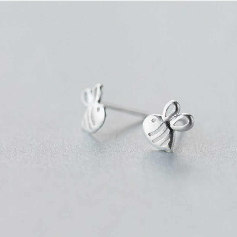 925 argent Sterling prévenir l'allergie 7mm X 8mm creux abeilles boucles d'oreilles pour les femmes de mariage boucles d'oreilles bijoux Pendientes