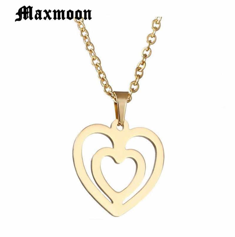 Maxmoon คู่หัวใจสร้อยคอจี้สำหรับสตรีเครื่องประดับเพื่อนเจ้าสาวของขวัญสแตนเลส Chain Bijoux Femme Collier