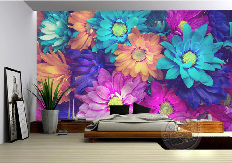 Free Shipping Charming Flowers Wall Mural 3d Wallpaper Natural Scenery Photo Wallpaper Colorful Daisy Painting Designer