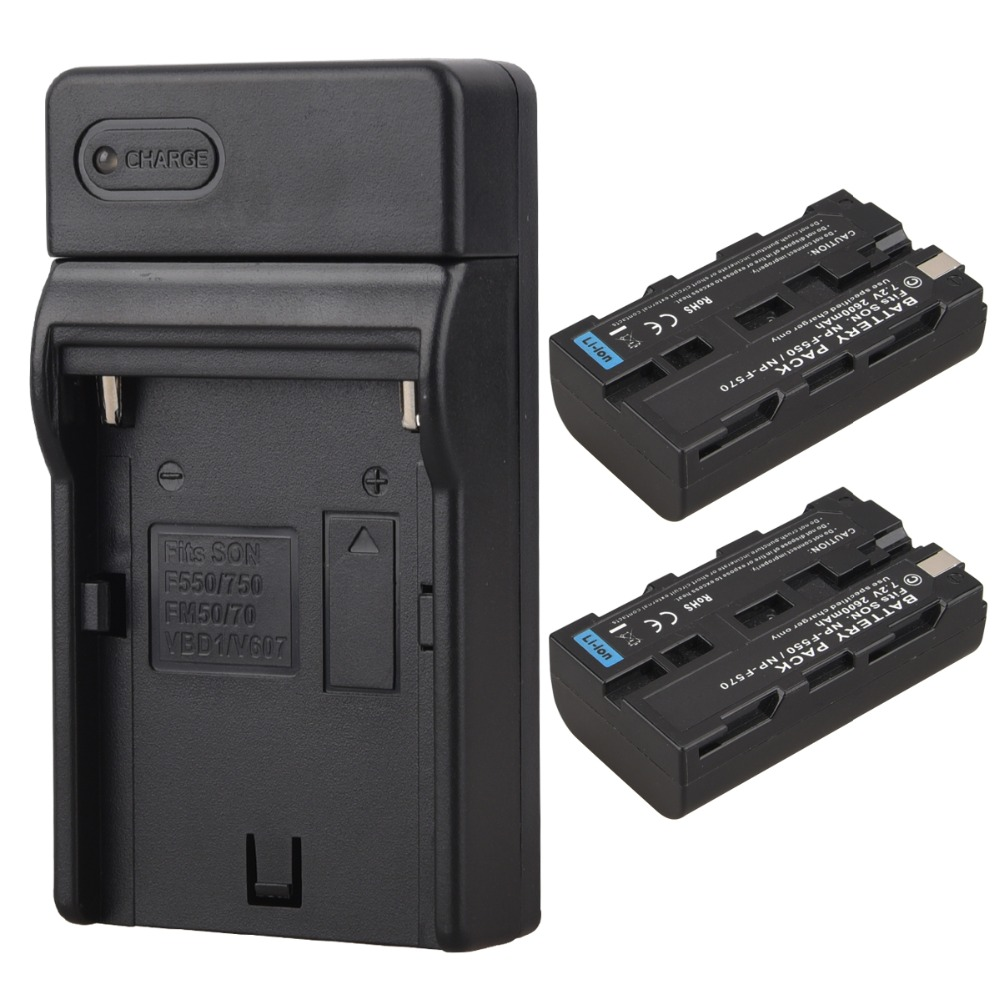 High Quality 2x 2600mAh NP F550 NP F570 NP F550 NP F570 Digital Camera Battery USB