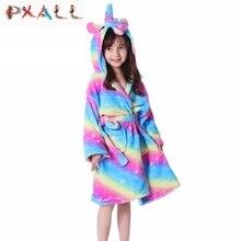 Детский банный халат с рисунком единорога для маленьких девочек; фланелевый мягкий халат; Пижама; модная детская одежда с капюшоном кораллового цвета