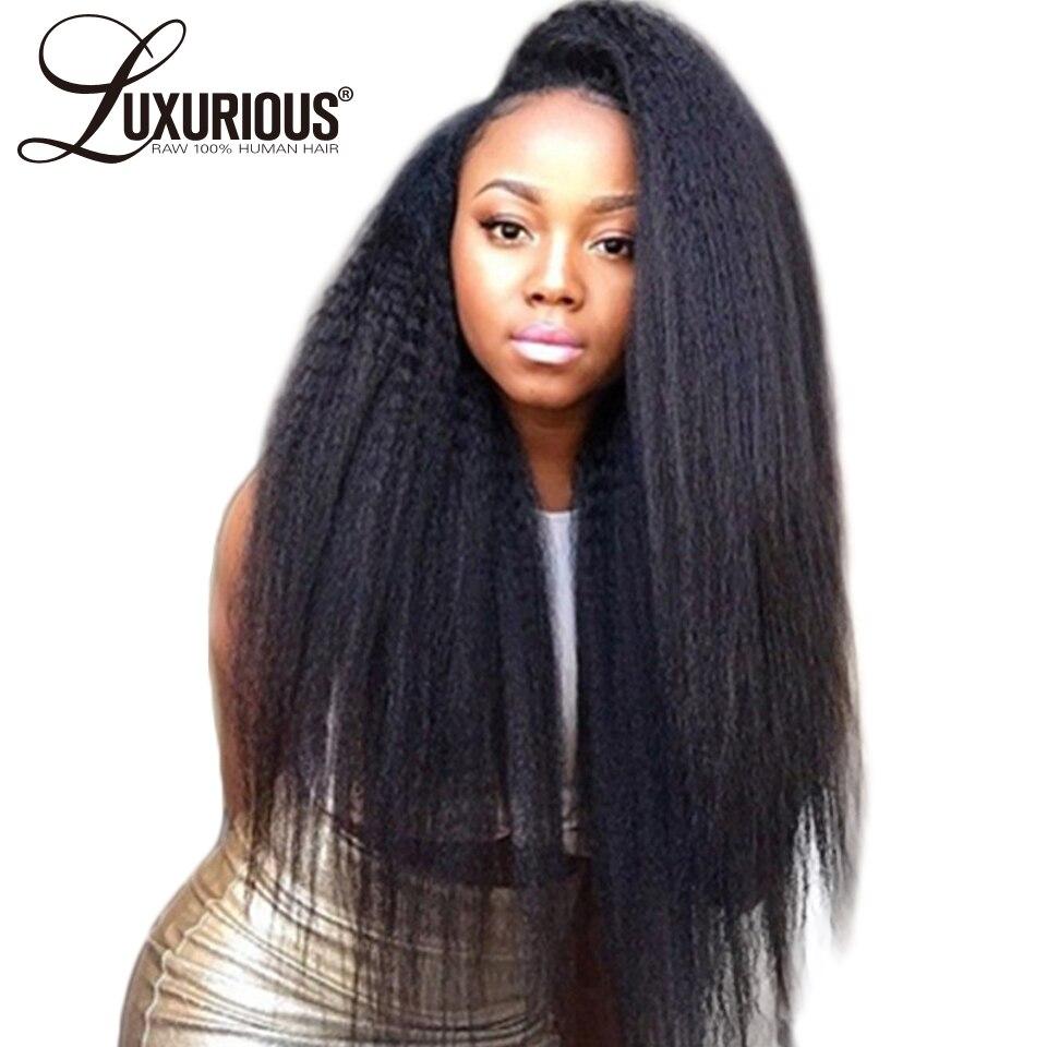 150 Density Italian Yaki Lace Front Human Hair Wigs For Women Brazilian Remy Kinky Straight Lace