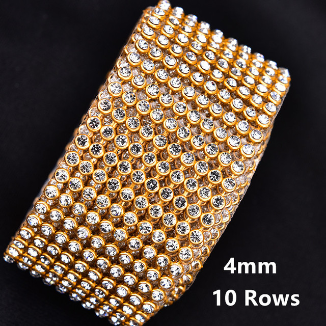 e5db1588d3 US $2.85 5% OFF|Aliexpress.com : Buy 4mm 2/5/10 rows Crystal Clear Stones  Silver HotFix Rhinestone Mesh Trimming Aluminium basePasted Sew on Net  Drill ...