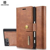 DG Ming Luxury Genuine Leather Magnetic 2 In 1 Detachable Stand Card Wallet Case For Sony