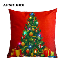 Christmas 100% Flax printed LED pillow case home use cover tree fashion case(450mm*450mm)