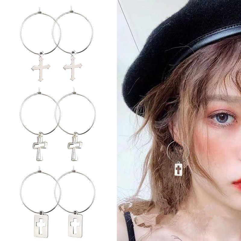 เงินสี Big Round Drop ต่างหูจี้ผู้หญิง Vintage Cross Charm Hoops ต่างหูเกาหลีแฟชั่น Minimalist เครื่องประดับ