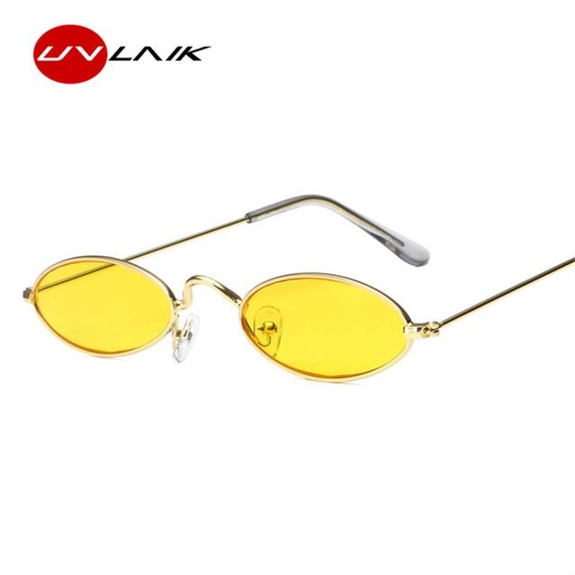 a0384a8037a UVLAIK Vintage Small Oval Sunglasses Women Retro Brand Skinny Metal Frame  Sunnies Men Sun Glasses Red