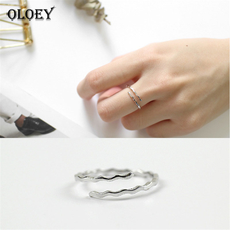 OLOEY Authentic 925 Sterling Silver Finger Ring 2018 Fine Jewelry Simple Water Ripple Open Rings For Women Girls Gift YMR277