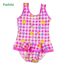 Funfeliz Girls swimsuit Floral Striped Print one piece swimwear with skirt 2018 girls swimming suit Baby Girl Bathing Suits girls baby girl palm print swimsuit with hat