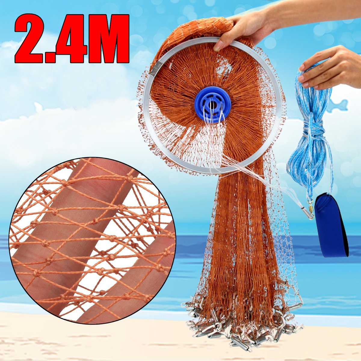 2.4M 4FT Strong Nylon Mesh Line Fishing Nets,Fishing Tackle,Fishing Equipment, Casting Network 3/8 Strong Nylon Mesh Bait Cast 4 8m 8ft cast net saltwater bait casting net strong nylon line with sinker