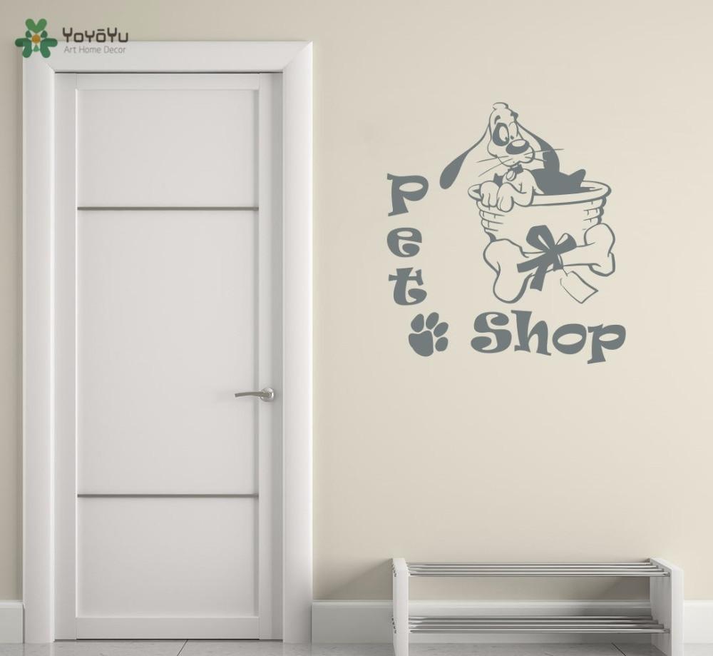 YOYOYU Vinyl Wall Decal Cute Puppy Dog Footprint Bones Basket Pet Shop Interior Room Decoration Stickers FD297