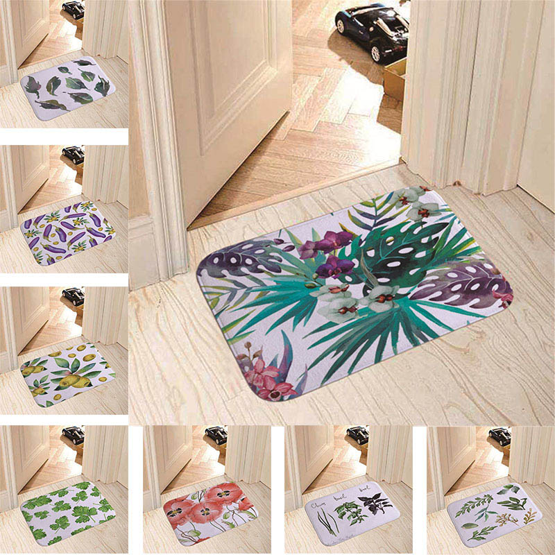 Creative Watercolor painting door mat 40x60cm carpet for bathroom kitchen Nordic green leaves plant print anti-slip floor rugs