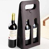 Luxe Draagbare PU Lederen Dubbele holle-out Rode Wijnfles Draagtas Verpakking Case Gift Opslag Dozen Met Handvat ZA3104