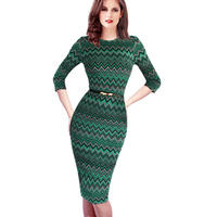 2015 Womens Dress Celebrity Elegant Vintage Pinup Half Sleeve Tunic Business Work Party Dresses Bodycon Pencil