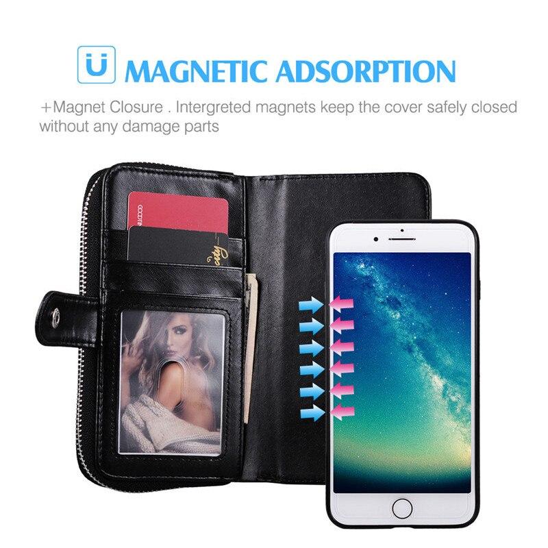 För iPhone 6s Case Funda Lyxplånbok Flip Lädermagnet Avtagbar - Reservdelar och tillbehör för mobiltelefoner - Foto 3