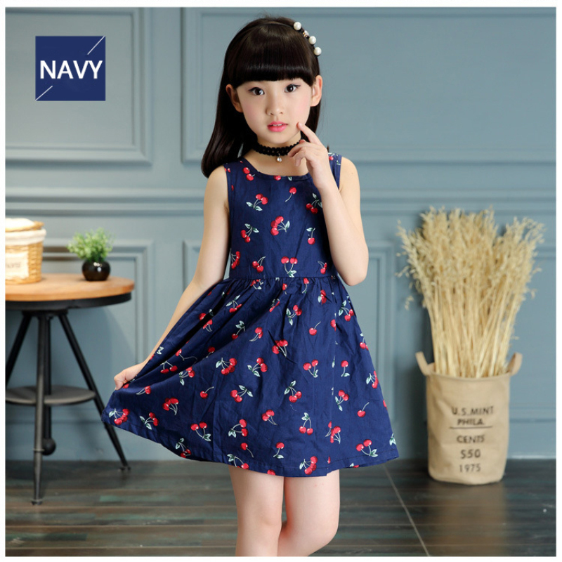 ФОТО 2016 baby girl summer dress new pattern cherry flower routine sleeveless girl dress for kids costume casual navy white free ship