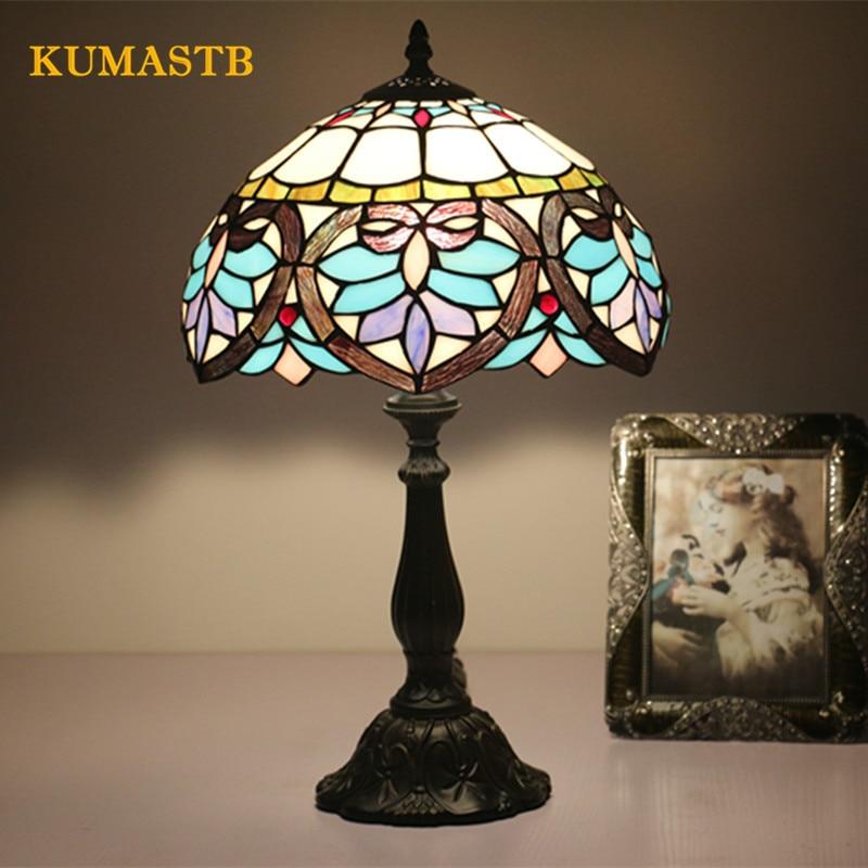 2018 American Vintage Desk Lamp Bed Lamps Bar Hotel Table Lamp Lamparas Bar Restaurant Living Room Tiffanylamp Dia30cm H49cm
