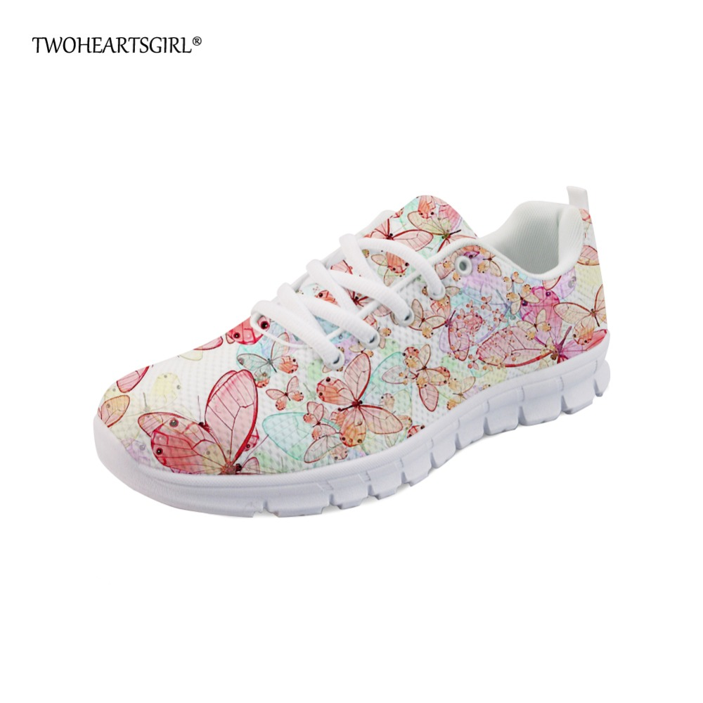 Twoheartsgirl Flat Butterfly Sneaker for Women Lightweight Lace Up Walking Shoes Casual Ladies Flat Shoes Tenis Feminino characteristic floral and butterfly shape lace decorated body jewelry for women