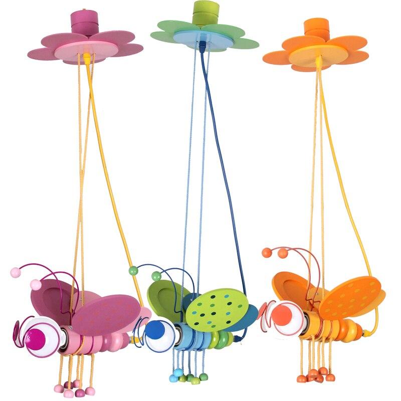 Enfants jouet moderne 3 PC couleur abeille pendentif lumières dessin animé garçon fille chambre décoration de la maison éclairage pendentif lampes ZA